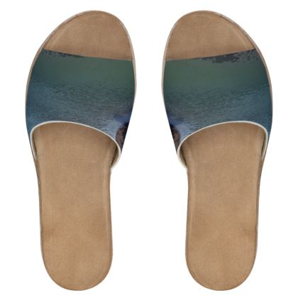 Women's Leather Sliders - Welsh Ocean