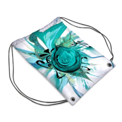 Drawstring PE Bag - Gympapåse  - Turquoise White