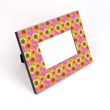 Naive Sunflowers On Fuchsia Cut-Out Frame