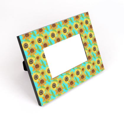 Naive Sunflowers On Turquoise Cut-Out Frame