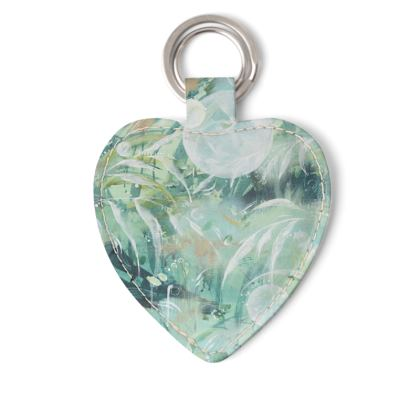 Rainforest Leather Keyring Heart or Rectangle Fob