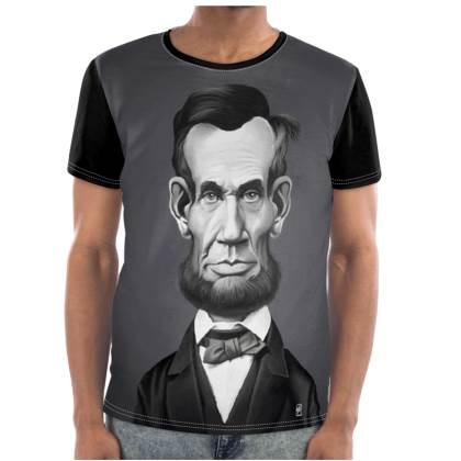 Abraham Lincoln Celebrity Caricature Cut and Sew T Shirt