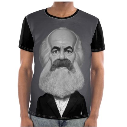 Karl Marx Celebrity Caricature Cut and Sew T Shirt