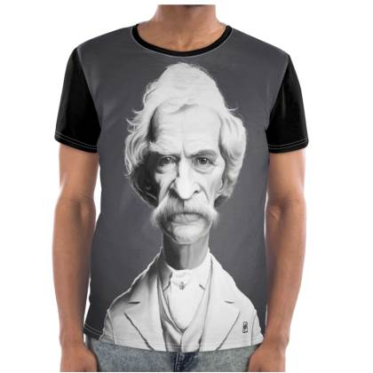 Mark Twain Celebrity Caricature Cut and Sew T Shirt