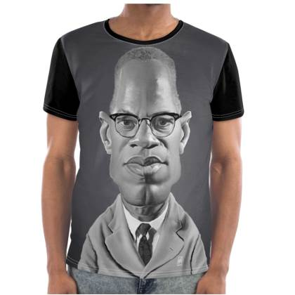 Malcolm X Celebrity Caricature Cut and Sew T Shirt