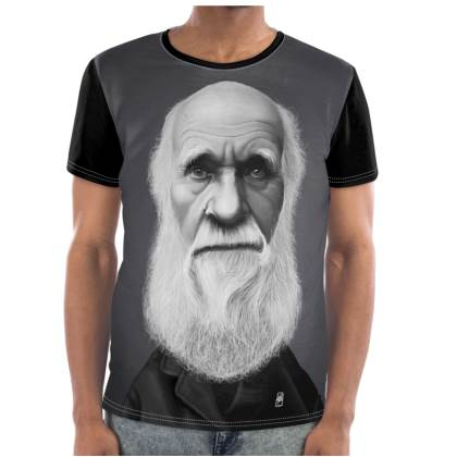 Charles Darwin Celebrity Caricature Cut and Sew T Shirt