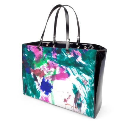 Abstract Multicolour Vinyl and Leather Handbag
