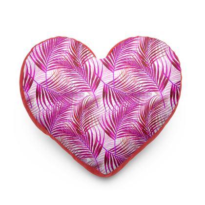 Tropical Garden Collection in Magenta Heart Cushion