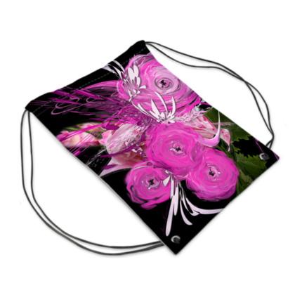 Drawstring PE, gym Bag - Gympapåse - Pink summer fantasy black