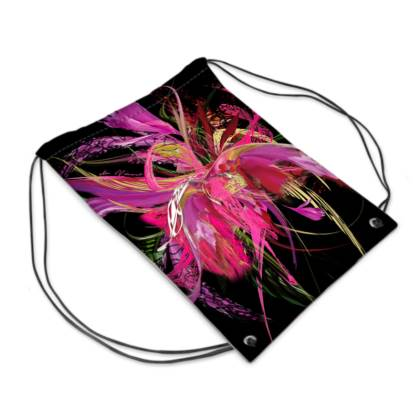 Drawstring PE, gym Bag - Gympapåse - Pink flow black