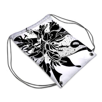 Drawstring PE Bag - Gympapåse  - Black ink white