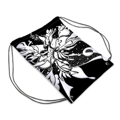 Drawstring PE Bag - Gympapåse  - White ink black