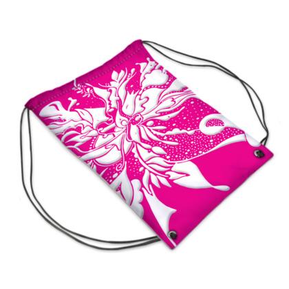 Drawstring PE Bag - Gympapåse  - White ink strong pink