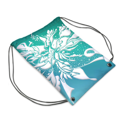 Drawstring PE Bag - Gympapåse  - White ink turquoise