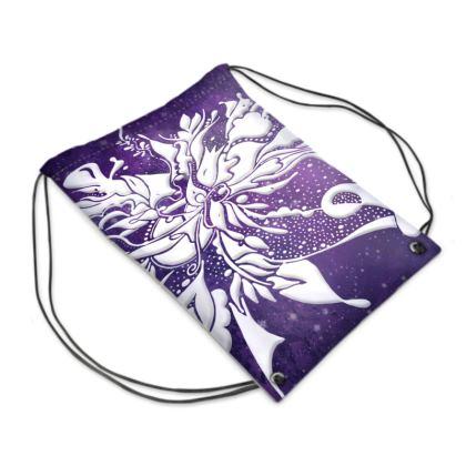 Drawstring PE Bag - Gympapåse  - White ink lila sky