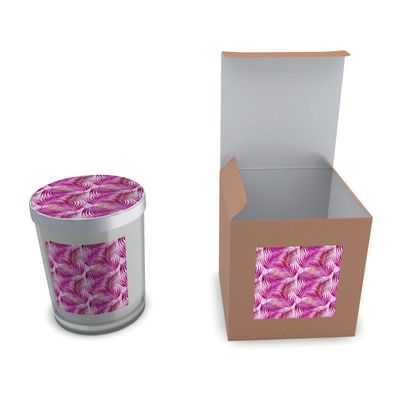 Tropical Garden Collection in Magenta Set Candle In Glass