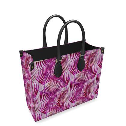 Tropical Garden Collection in Magenta Leather Shopper Bag