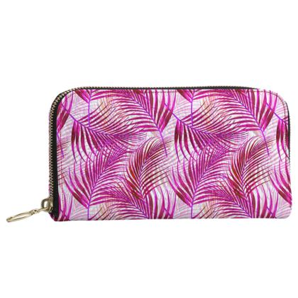 Tropical Garden Collection in Magenta Leather Zip Purse
