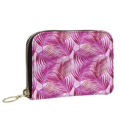 Tropical Garden Collection in Magenta Small Leather Zip Purse