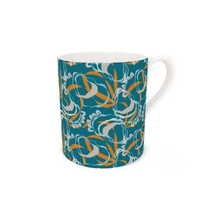Bone China Mug: Rockpools Design on Sea Green