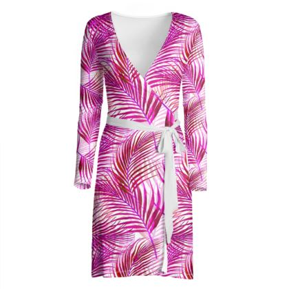 Tropical Garden Collection in Magenta Wrap Dress