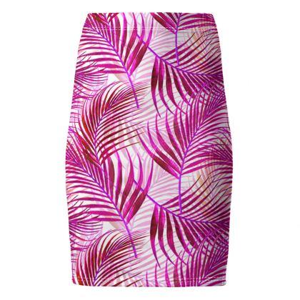 Tropical Garden Collection in Magenta Pencil Skirt