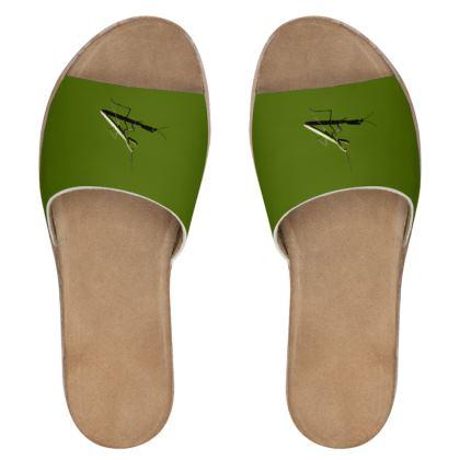 Women's Leather Sliders - Mantis