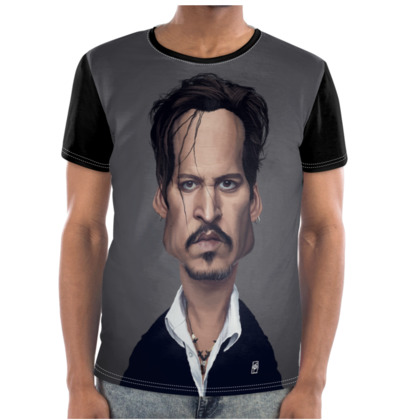 Johnny Depp Celebrity Caricature Cut and Sew T Shirt