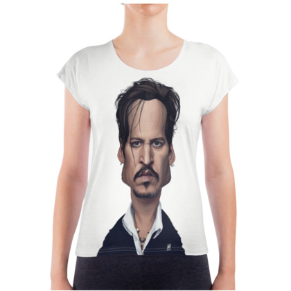Johnny Depp Celebrity Caricature Ladies T Shirt