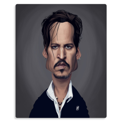 Johnny Depp Celebrity Caricature Metal Print