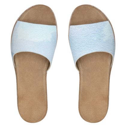 Women's Leather Sliders - Whitby Sea