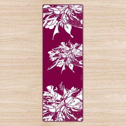 Yoga Mat - Yogamatta - White ink wine red