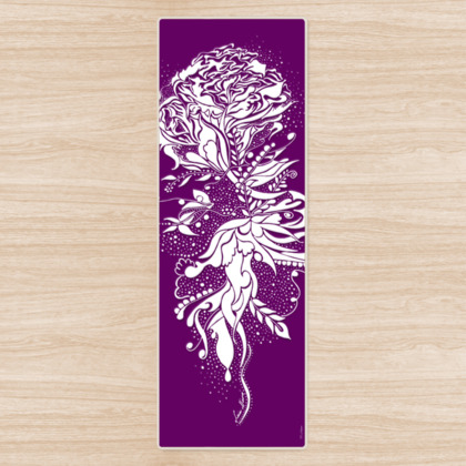 Yoga Mat - Yogamatta - White ink flower lila