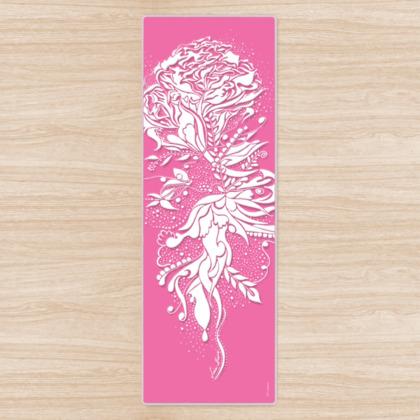 Yoga Mat - Yogamatta - White ink flower soft rosa