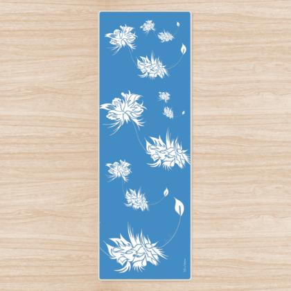 Yoga Mat - Yogamatta - White ink 2 soft blue