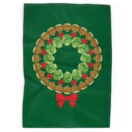 Christmas wreath tea towel
