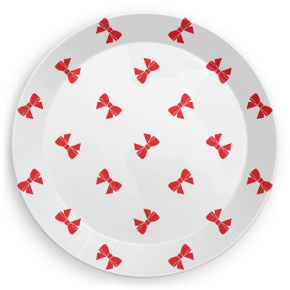 Christmas Red Ribbon Bows White Party Plate