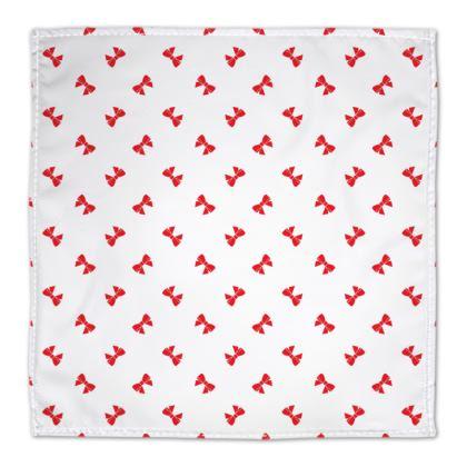 Christmas Red Ribbon Bow White Napkin