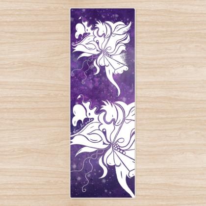 Yoga Mat - Yogamatta - White ink 12 lila sky