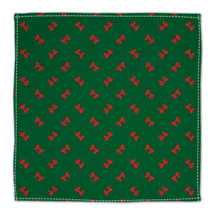 Christmas Red Ribbon Bow Green Napkin