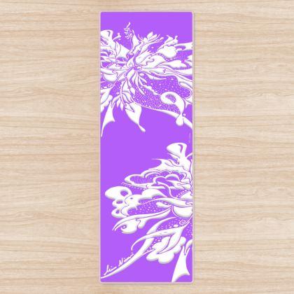 Yoga Mat - Yogamatta - White ink lila