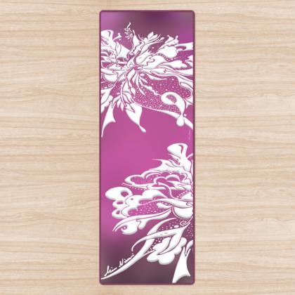 Yoga Mat - Yogamatta - White ink pink gradient