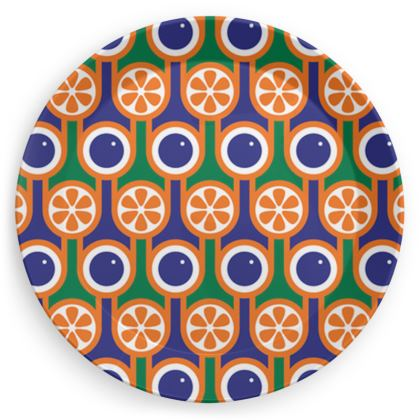 Blue blueberries orange oranges party plate