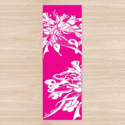 Yoga Mat - Yogamatta - White ink hot pink