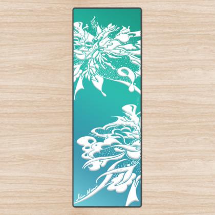 Yoga Mat - Yogamatta - White ink turquoise