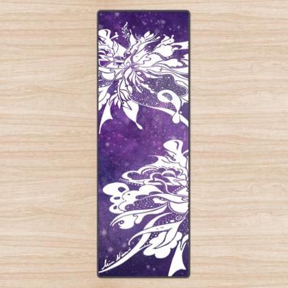 Yoga Mat - Yogamatta - White ink lila sky