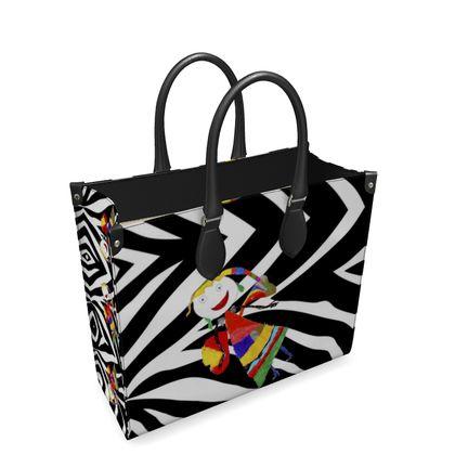 Zebra Fairy by Elisavet Leather Shopper Bag