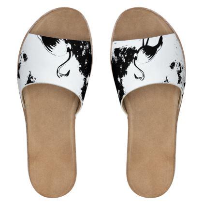 Women's Leather Sliders - Flamingo