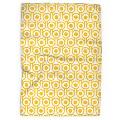 Yellow fried eggs tea towel