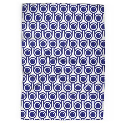 Blue blueberries tea towel